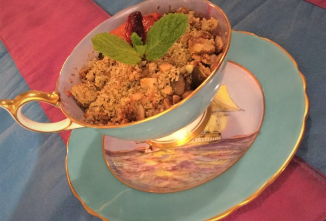 Fruit crumble infused with Rooibos